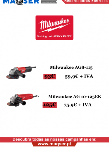 Promoção Rebarbadoras Elétricas Milwaukee
